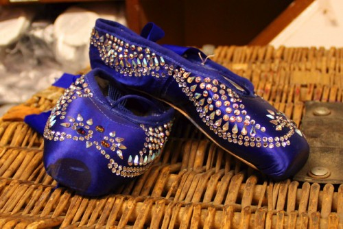 Pointe shoes hand-encrusted with 365 crystals