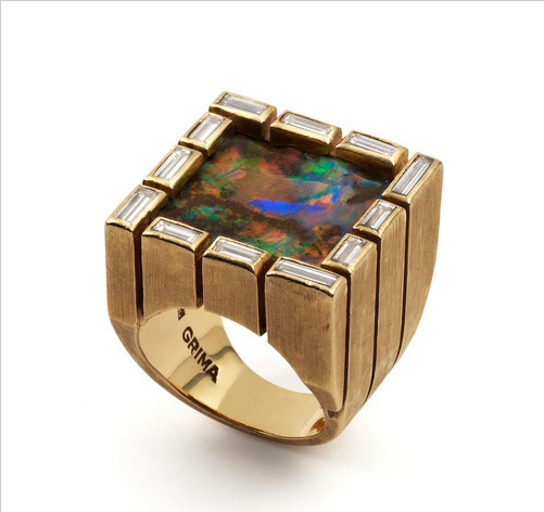 Grima 1973 square Opal surrounded by baguette-cut Diamonds in Yellow Gold