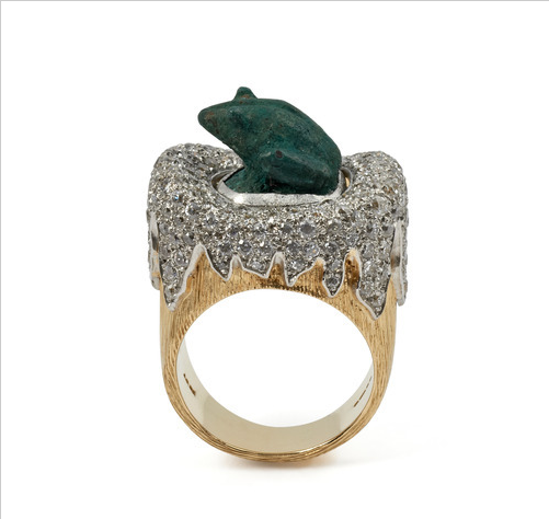 Grima 2012 Frog ring set in Diamonds and Yellow Gold by Jojo Grima
