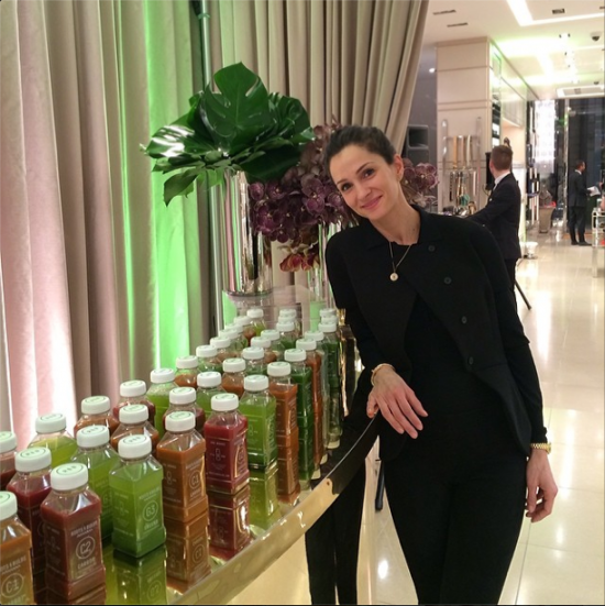 Sarah showcasing her juices at a Jimmy Choo event earlier this week